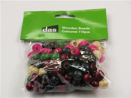 Packs of wooden beads for crafts - plain or coloured