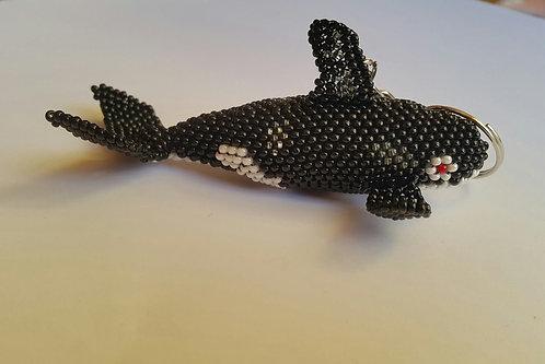 Handmade Guatemalan Beaded Keyring - Orca