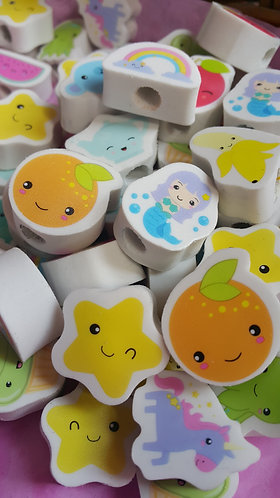Fun Grab bag - 10 random Kawaii pencil-toppers/erasers
