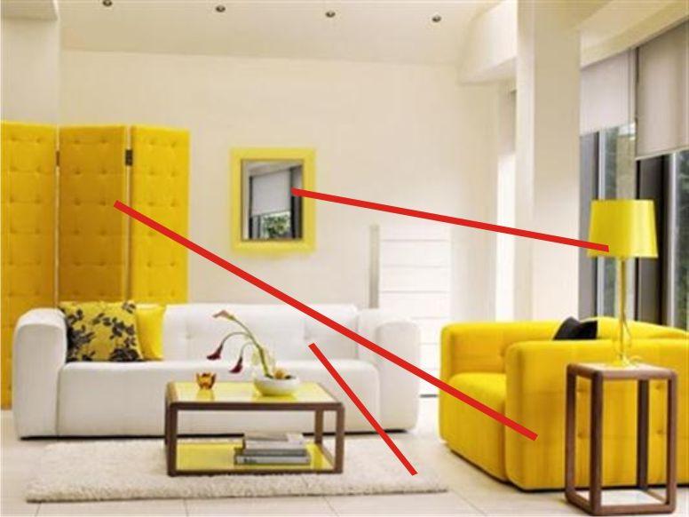 Sala branca com amarelo Conectada