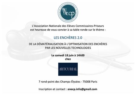 """""""Les enchères 2.0"""" - RDV le 18 juin pour la table ronde de l'ANECP"""