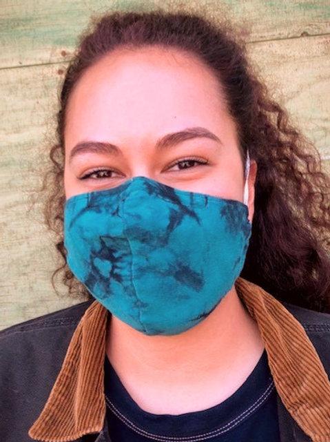 Face Mask - Tie Dye Shibori Turquoise (Contoured)