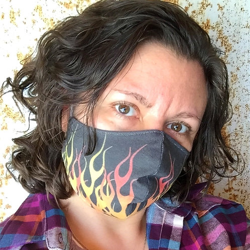 Face Mask - Flames (Contoured)
