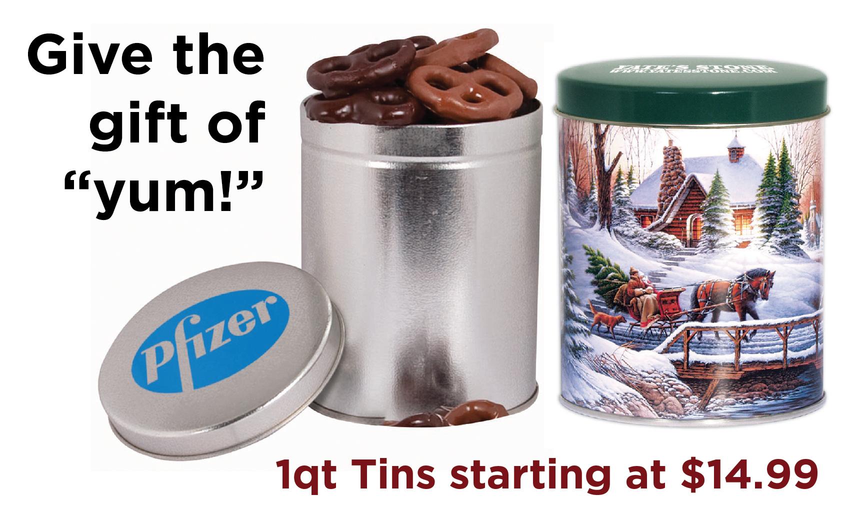 Chocolate Pretzel Holiday Gift Tins