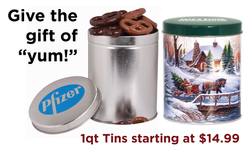 Chocolate Pretzel Holiday Gift Tins