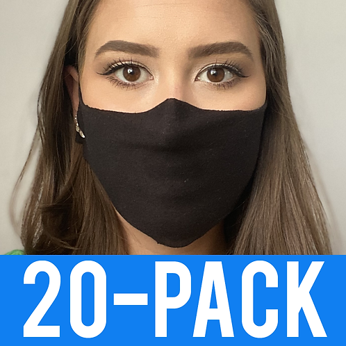 Face Mask 20 pack - Thin Black