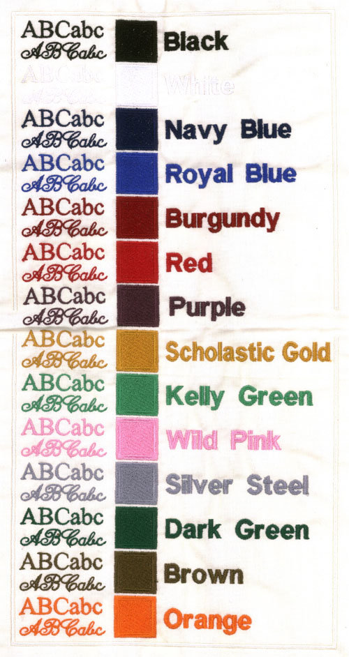 Standard Embroidery Colors