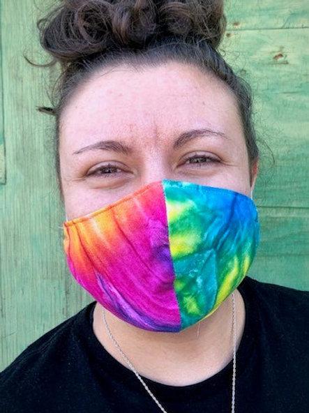 Face Mask - Tie Dye Rainbow Ripple (Contoured)