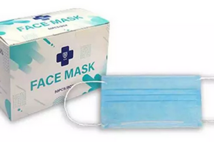 Face Mask 50 pack Blue/White 3-ply