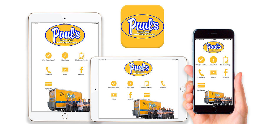 Paul's Heatng and Cooling App available on IOS and Google Play