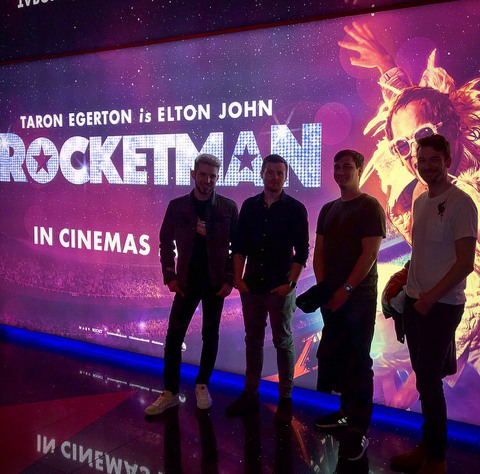 The On Set Tech team attend the Cast & Crew Screening of Paramount's Rocketman (2019). DIT Joshua Callis-Smith, DIT Jonathan Petts, Lab Operator Andrew Dickinson, Lab Operator Adam McHattie