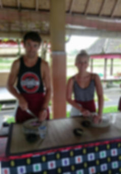 Preping forour main course during our cooking class in ubud