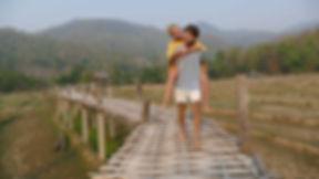 crossing the bamboo bridge in Pai