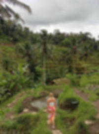 Jessie walking through the Tegalalang rice terraces