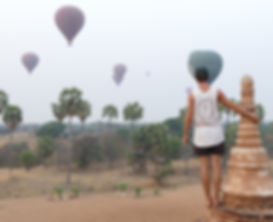 Climbing pagoda in bagan andwatching the hot air balloons fly over