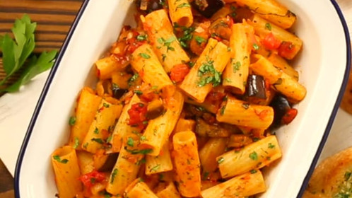 Roasted Eggplant & Tomato Pasta
