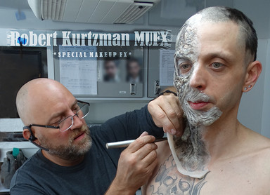 The Basement Ghost makeup application begins...