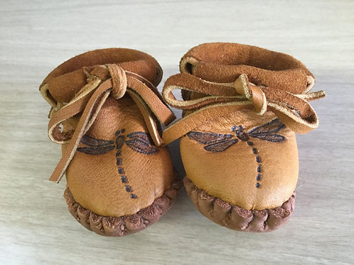 Handmade Baby Moccasins with Dragonfly Design, Size Newborn, Ready to Ship