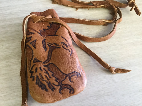 Handmade Deer Hide Pouch, Hand Burned Eagle Design, Ready to Ship