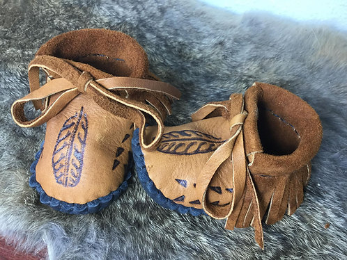 Hand Sewn Baby Moccasins, Size 3-6 Month, Ready to Ship