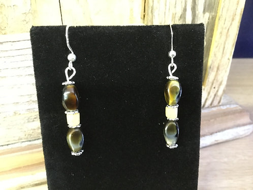 Handmade Earrings, Tigers Eye and Bone Beads, Ready to Ship