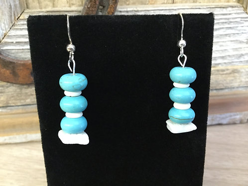 Handmade Earrings, Turquoise and Shell, Ready to Ship