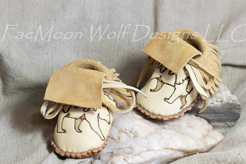 Handmade to Order Baby Moccasins with Bear Design