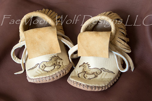 Made to Order Baby/Toddler Moccasins with Horse Design