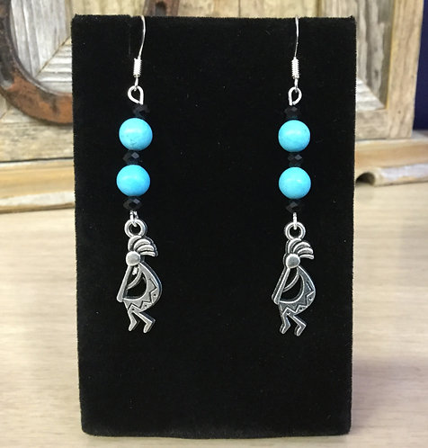 Handmade Kokopelli Earrings, Turquoise, Ready to Ship