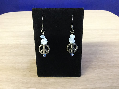 HandmadeAquamarine and Peace Symbol Earrings