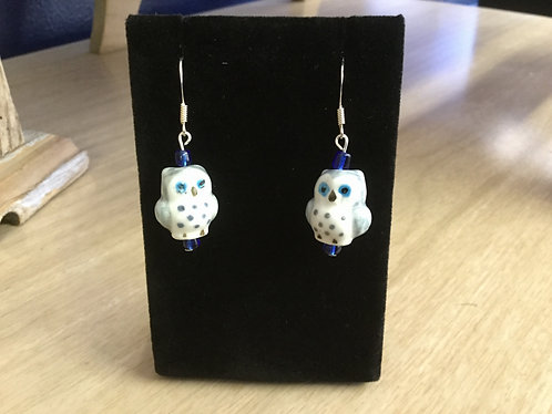 Handmade Ceramic Owl and Swarovski Crystal Earrings, One of a Kind