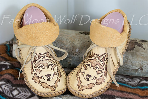 Hand Sewn Short Moccasins with Wolf Design, Women's Size 10, Ready to Ship