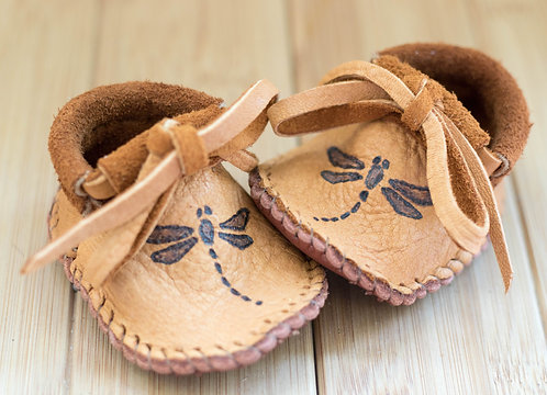 Made to Order Baby Moccasins with Dragonfly Design