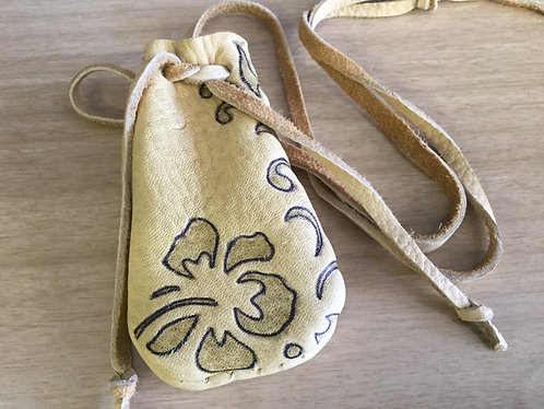 Hand Sewn Deer Hide Pouch with Flower Design, Ready to Ship