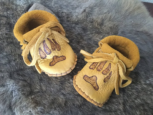 Hand Sewn Baby Moccasins with Wolf Paw Design, Size 3 Month, Ready to Ship