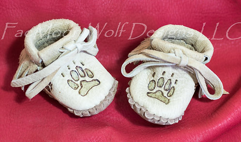 Hand Sewn Baby Moccasins with Bear Paw Design, Custom Made to Order