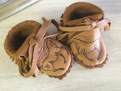 Hand Sewn Baby Moccasins, Fringed, Horse  Design, Size 3-6 Months