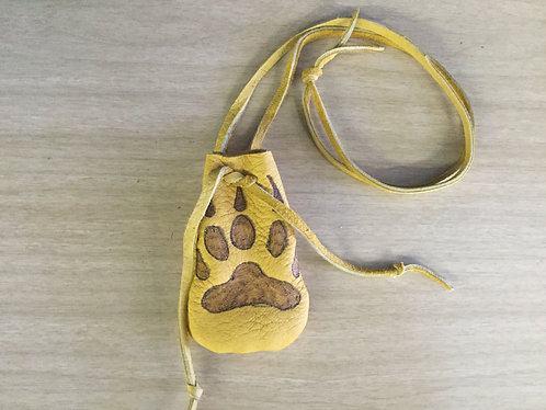 Hand Sewn Medicine Pouch, Wolf Paw Design, Ready to Ship