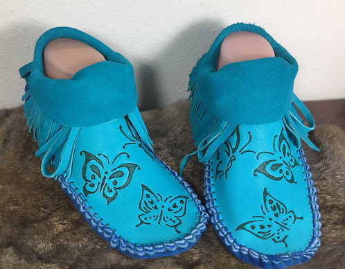 One of a Kind, Hand Sewn Fringe Moccasins, Women's Size 8, Ready to Ship