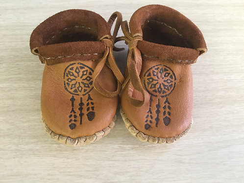 Hand Sewn Baby Moccasins with Dream Catcher Design, Ready to Ship
