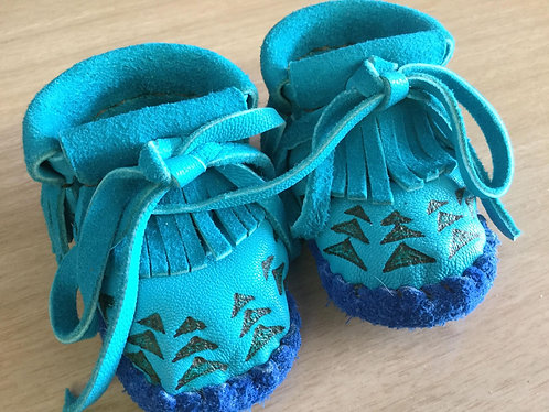 Hand Sewn Turquoise Deer Hide Baby Moccasins, Size 3 Month, Ready to Ship