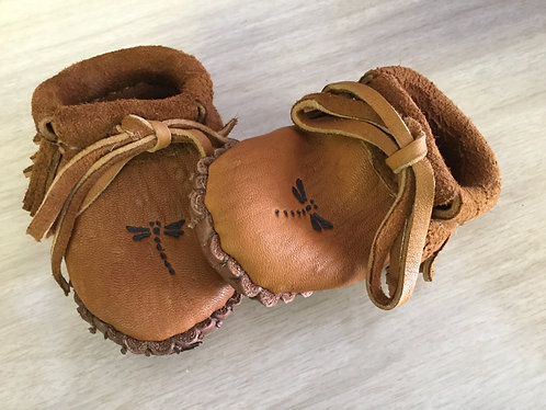 Handmade Baby Moccasins with Dragonfly Design, Hand Sewn, Ready to Ship