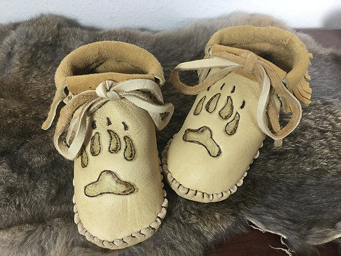 Handmade Moccasins with Wolf Paw Design, Toddler Size 8, Ready to Ship