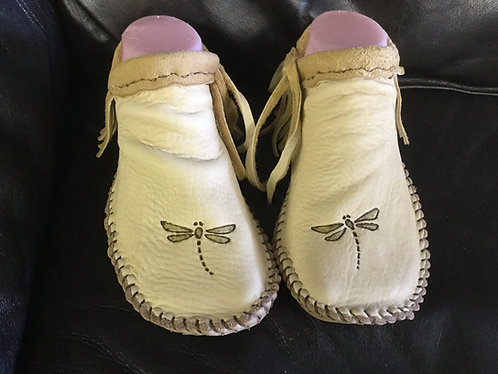 Custom Hand Sewn to Order Short Fringe Moccasins with Dragonfly Design
