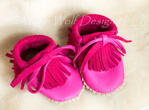 Pink Fringe Baby Moccasins, Hand Sewn to Order