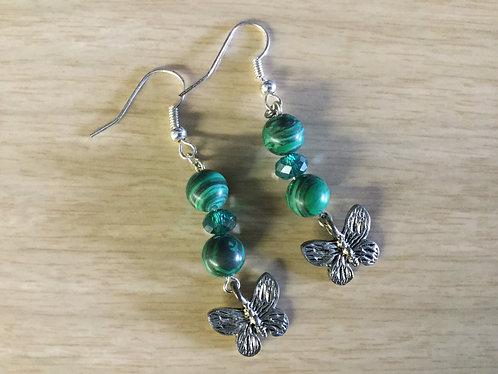 Handmade Malachite and Swarovski Crystal Earrings