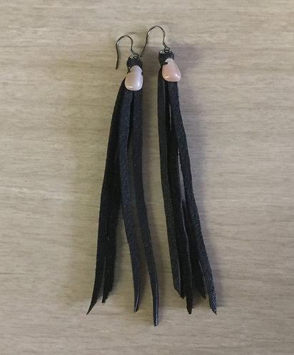 Handmade Long Fringe Leather Earrings