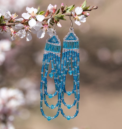 Beaded Earrings, Ready to Ship, Blue and Silver