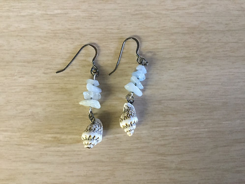 Aquamarine and Shell Earrings, Handmade, Ready to Ship