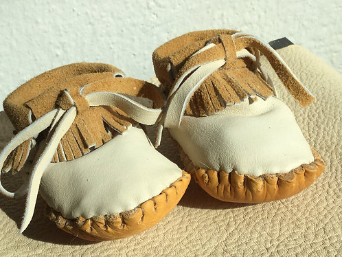 Handmade fringed baby moccasins, Size 3-6 Months, Ready to Ship